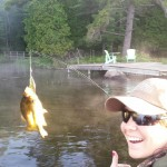 Ashley Kelly used a top water lure to land not one, but two rock bass on Buck Lake.
