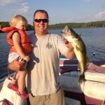 Blake Taverner and his daughter Addison, 2, of Gravenhurst caught this 4 lb pickerel on South Longford Lake.