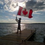 Ben Beaton, 11, celebrating Canada Day 2014 at the cottage on Lake Couchiching. What a wonderful country we live in!