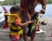 Gia Dodich, 3, was fishing with her Dora rod when this largemouth grabbed a hold of the rock bass on the end of her line