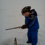 Hunter, 4, loved his first ice fishing experience.