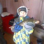 While ice fishing on Nosbonsing on Family Day weekend, Cannon Loschnig, 8, caught this 18.5-inch pike. He also iced a perfectly good rod and reel.