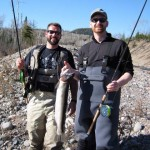 In May 2013 on the north shore of Lake Superior, Karl and Jesse learned to use a centre pin reel. Karl caught his first steelhead.
