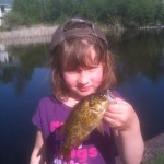 Fearless Leah Cavanagh,5, lipping her first fish