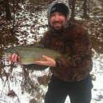 During the start of the minnow bite on the Niagara River, Nick Galotta caught this football sized brown trout bottom by bouncing a homemade streamer. (December 2013)