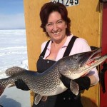 "While fishing with her friend Denis on Lake Nipissing in North Bay, Michelle Paolini (or Moo Moo to her friends) landed this 20-pound pike. It was 41"" long and the biggest fish she's ever reeled in."