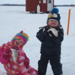 Nolan and Keala Wright had some fun at their ice hut on Callander Bay with their Dad, Brien, this winter
