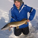 """Scott Rice, 14, caught this 35.5"""" Northern Pike through the ice. It was caught in Cambridge at Shades Mill Conservation Area."""