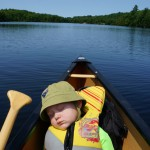 Weston Randall, 2, first backwoods canoe trip to Kawartha Highlands Provincial park.