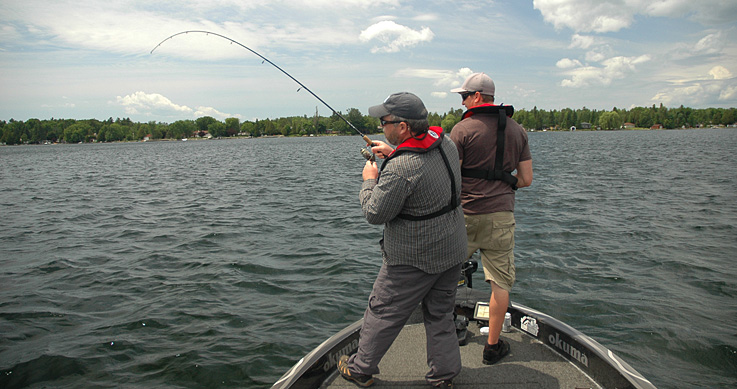 walleye hotspots - two guys fishing in a boat