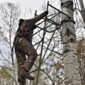 a person climbing down from a tree stand