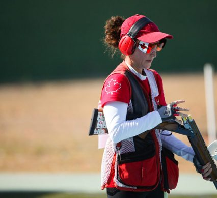 Team Canada's Cynthia Meyer in qualifying round of trap shooting