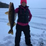 Tanya Smith iced this eight-pound walleye in the early morning while fishing near Kashabowie.