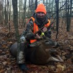 Bernadette Milko harvested her first buck during the controlled shotgun hunt in the Shelburne area.