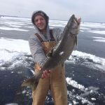 Kevin Melo iced this 11-pound lake trout two kilometers off of Duclos point near Sutton.