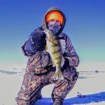 Matt Chestnut iced this perch near London on his first ever ice fishing adventure.