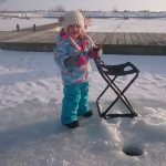 Evelyn Genereaux had her first ice fishing experience this winter.