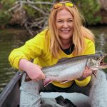 Jessa Kostecki with a northern Ontario brook trout.