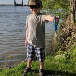 Caleb Lalonde, 6, of Waubaushene caught his first white perch from the shore of the Grand River in Port Maitland.