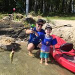 Nick Burd with his son Oliver after the three-year-old caught his first bass from Cashel Lake in Ontario.