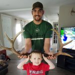 Adam D'Angelo and his stepson Jackson Brown display matching sets of sheds found from a buck they have been watching on a trail camera all fall and winter.