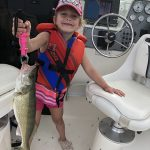 Abby Skinner of Kingsville caught this walleye during on Leamington Harbour on Lake Erie during her first fishing trip on a boat, with her dad Mike during Family Fishing Week.