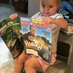 When his two-year-old daughter Presley Ann Hargreaves is not out fishing with mom and dad, she enjoys looking at OOD magazine, says Evan Hargreaves of Tory Hill.