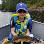 Yanik Larouche, 4, of Hanmer landed his first walleye while fishing with his dad, Matt, on the French River.