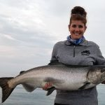 Nicole Lange of Bowmanville, a self-described creek angler, caught and released her first Chinook salmon on Lake Ontario.