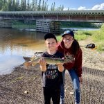 Liam Kenney (left) of Shelburne travelled to Manitouwadge to catch his first northern pike with cousin Victoria Edwards.