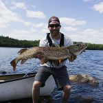 In catching this giant northern pike in Quetico Provincial Park, Matt Gutpell of Fort Frances completed the Quetico Grand Slam – landing all four species (lake trout, northern, walleye, and bass) that can be caught on one lake. He caught each on a homemade trolling spoon before releasing them.