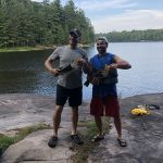 James Firth of Plympton-Wyoming sent in this photo of his brother-in-law Keith Willemse, from left, with an 18.5-inch largemouth caught on a Senko and Firth with a 19.5-inch smallmouth caught on a popper on Lake Partridge near Parry Sound.