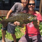 Nate Devitt, 10, of Bobcaygeon – seen with his dad, Joe – caught what he said was a 8.75 lb. smallmouth while tossing a topwater lure on Sturgeon Lake.