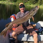 Justin Loring of Cochrane caught this northern pike on a fly rod while fishing with his fiancé close to home.