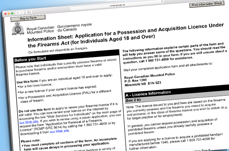 RCMP application Possession and Acquisition Licence (PAL)