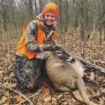 Hailey Meens of Belleville with her first buck harvested last November. She got her second at the same stand the very next day.