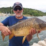 Colin Alexander of London caught this mirror carp on the Maitland River using corn.