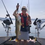 Marina Verdonk of Sault Ste. Marie needed help landing this very impressive Walleye after it broke her favourite rod while fishing in Harmony Bay, Lake Superior. She thanked fishing partner Marlie for grabbing the line and netting it at the last second!