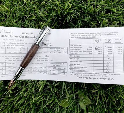 Hunter survey with pen