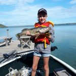 Ella Arnold caught this walleye while fishing for perch with family on Lake Mindamoya on Manitoulin Island. Her grandma netted it for her.