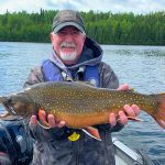 Randy Beamish of Thunder Bay caught this beautiful brook trout on a custom fly on the Nipigon River before releasing it.