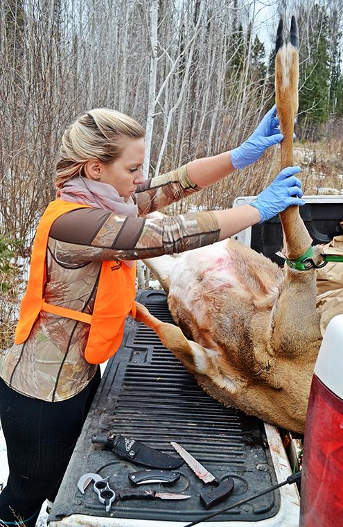 woman holding deer