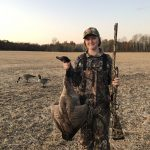 Leslie Tuck harvested her first goose in October after completing the hunter apprentice program. She was hunting with her dad Chad and his friend Randy Macey near Orangeville.