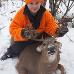 Gage Gardiner, 11, of Thunder Bay after his first hunt with dad Jeremy in northwestern Ontario.