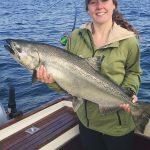 Kate Morse of Paris, Ontario caught and released this Chinook salmon on Lake Ontario.