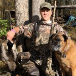 Hunter apprentice Maverick Corboy Beattie, 14, of Sault Ste. Marie with his first double of ducks, and family dog Cabela.