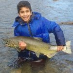 Taylor Hillier of Georgetown captured the joy experienced by his son Zachary, 10, when he caught his first Chinook salmon in the Credit River in Mississauga.