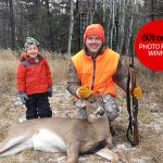 """Congratulations to our winner for November 22, 2019, Tyson Kan of Nolalu! He submitted this photo of his son Taimen, 3, and buddy Paul after """"Uncle Paul"""" harvested his first deer in South Gillies/Nolalu."""