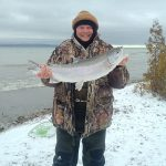 Greg Mather of Owen Sound caught this eight-pound rainbow trout from shore.