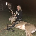 Kiesha McCarey of Tillsonburg prefers to shoot bows, not wear them, like when she harvested this big buck.